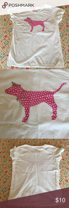 PINK Victoria's Secret Spotted Dog Princess Shirt Fun for spring break. All dogs should be decked out in sparkles. One of these sparkles is missing. The teardrop one in last pic. Dog probably ate it. Silly dog. Home of cute dog and no smoke PINK Victoria's Secret Tops Tees - Short Sleeve
