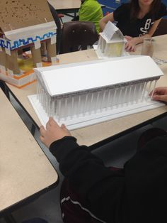 4th grade architectural model, based on the Parthenon. Each model had to include columns, a frieze and pediment. They were spectacular!