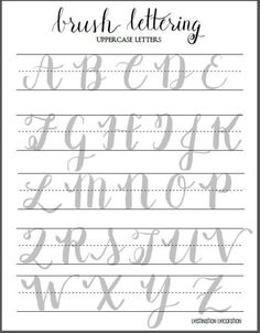Free Brush Lettering Worksheet - Uppercase Letters | Water Brush, Brush Pen, and Calligraphy Worksheet | Destination Decoration