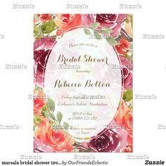marsala bridal shower invitation modern floral