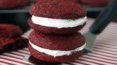 Blogger Paula Jones from Bell'alimento shares the perfect red velvet indulgence: Red Velvet Whoopie Pies.