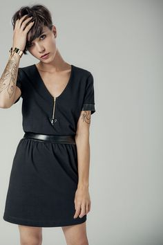 Simple black dress, but just a little bit of something different with the belt and zipper detail