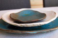 Handmade ceramic plates, Wedding gifts, Set of 3 Organic shaped Handmade Tableware dinner plates Dinnerware set