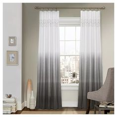 Shop for Vue Signature Arashi Ombre Embroidery Curtain Panel. Get free delivery On EVERYTHING* Overstock - Your Online Home Decor Outlet Store! Curtains Kohls, Ombre Curtains, Grey Curtains, Colorful Curtains, Window Curtains, Curtains Living, White And Gray Curtains, Curtain Ideas For Living Room, Unique Curtains