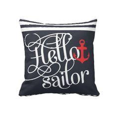 Hello Sailor! Retro Vintage Girly Nautical Throw Pillow by GirlyTemplate