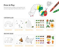 Eric Carle coloring sheets click pic to open 31 page PDF Kid