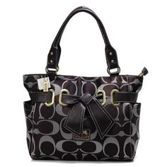 #CoachOutletStore Taking The Coach Poppy Bowknot Signature Medium Coffee Totes ANA Make You Different From Others!