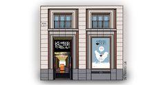 Tapas, Madrid, Facade, Watercolor, Store, Illustration, Home Decor, Gourmet, Gastronomia