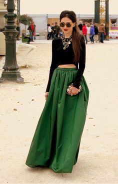 Beautiful outfit...black cropped top with a long green skirt