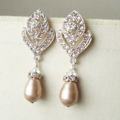 Wedding Jewelry Art Deco CHAMPAGNE Pearl Earrings by luxedeluxe