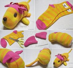 Sewing Stuffed Animals Cute stuffed animal made from socks - We've put together lots of Sock Animals that you are going to love to make. Check out all the free patterns and tutorials now. Sock Crafts, Fabric Crafts, Fun Crafts, Crafts For Kids, Sewing Toys, Sewing Crafts, Sewing Projects, Craft Projects, Sock Toys