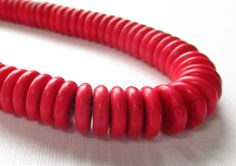 Flat Disc Beads Red Howlite Round Spacer Beads Red by BijiBijoux