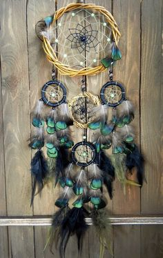 Black dream catcher. Boho dream catcher. Room by MyFreeDreams