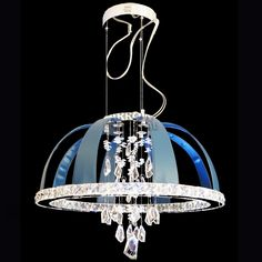 Arrow Dome LED Crystal Chrome Pendant in Blue Leather Crystal Pendant, Stones And Crystals, Polished Chrome, Contemporary Style, Pendant Lighting, A4, Villa, Bulb