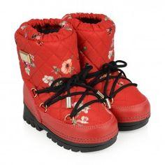 Dolce & Gabbana Girls Red Ladybug Snow Boots