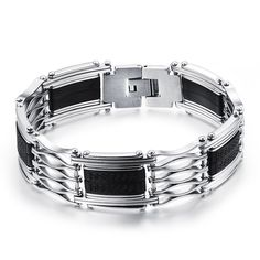 nice Wholesale 2016 New Fashion Jewelry Men Stainless Steel Bracelets Cool Male Accessories Silicone Rubber Bracelet for Men LPH935 8.86 $