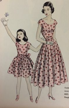 Mother-daughter fashions from the pages of a July 1949 Vogue Patterns catalog. #voguepatterns #vintagesewing