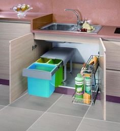 30 Layouts Perfect for Your Tiny Kitchen How we painted kitchen cabinets for our new kitch Kitchen Sink Storage, Kitchen Organisation, Kitchen Drawers, Kitchen Pantry, Kitchen Decor, Kitchen Cabinets, Kitchen Layout, Kitchen Ideas, Under Sink