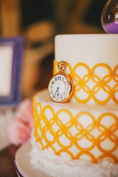 yellow lattice cake by Dream Cakes // photo by Renee Nicole Design + Photography - View more http://ruffledblog.com/time-travelers-wife-wedding-ideas/