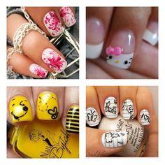 awee want the hello kitty nails! Fancy Nails, Love Nails, Pretty Nails, My Nails, Cute Nail Art, Beautiful Nail Art, Nail Polish Designs, Cute Nail Designs, Hello Kitty Nails