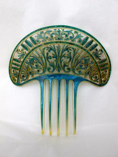 Large Blue Green Celluloid Art Nouveau Hair Comb - Rhinestones