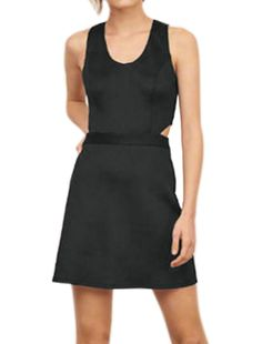 Allegra K Women's V Neck Cut Out Waist Sleeveless A Line Dress Black (Size L / 12)