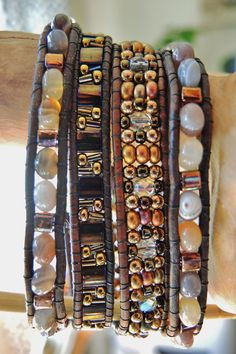 BOTSWANA Agate 4 or 5  Wrap Leather by BraceletsofBlueRidge, $94.00