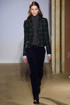 Fay - Fall 2015 Ready-to-Wear - tartan suit jacket, turtleneck, velvet pants.