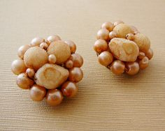 Vintage .. Clip on Earrings Signed Hong Kong by dibabeads on Etsy, $10.00