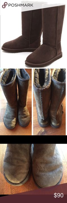 Ugh classic tall in chocolate These chocolate colored boots are in great condition and have a lot of life left in them. There are a few water stains on toe and one shaft. Otherwise great used condition. Come with box UGG Shoes Winter & Rain Boots