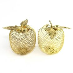 Vintage Gold Apples (2): Kitschy fun home decor with Hollywood glamour style! Available from OneRustyNail on Etsy. ► http://www.etsy.com/shop/OneRustyNail