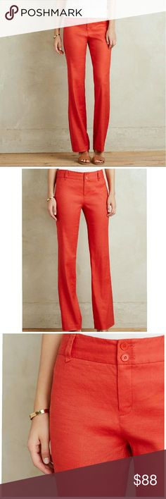 Antropologie Benton Trouser by Elevenses Trousers features:  Slim, tailored fit Side slant, back welt pockets 55% Linen, 43% Rayon, 2% Spandex Anthropologie Pants