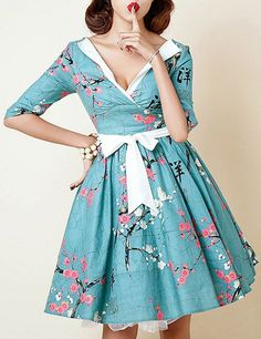 Retro Style V-Neck 3/4 Sleeve Floral Print Self Tie Belt Ball Gown Dress For Women