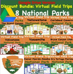 Google Drive Version- Discount Bundle - Virtual Field Trip Park to the the National Parks 8 Trips for the Price of 5 Volcano National Park, Grand Canyon National Park, National Parks, Science Writing, Writing Activities, Yellowstone Volcano, Bryce Canyon Utah, Kenai Fjords, Virtual Field Trips
