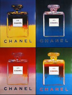 In the Andy Warhol painted the now famous Chanel perfume bottles pop-art poster. It is said that a bottle of Chanel No. 5 is sold every 30 seconds somewhere around the world. Andy Warhol Pop Art, Robert Rauschenberg, Pittsburgh, Jasper Johns, Visual Merchandising, Fashion Merchandising, Johannes Itten, Richard Hamilton, Warhol Paintings
