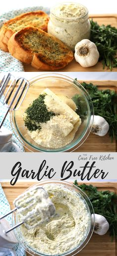 This is the most amazing garlic butter recipe. This delicious and creamy garlic butter is perfect for garlic bread, sautéing vegetables or steak. Homemade Garlic Butter, Fingers Food, Dips, Flavored Butter, Butter Recipe, Cooking Recipes, Healthy Recipes, Grilling Recipes, It Goes On