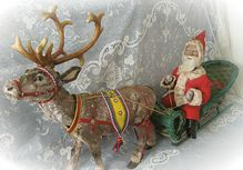 Antique Santa Father Christmas in Sleigh and Reindeer Both Nodding
