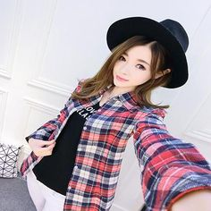 2017 New Spring Fashion Plus Size Ladies Long Sleeve Casual Cotton Slim Plaid Shirt Women Tops And Blouses Clothing Outerwear