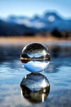 Glass Ball on Ice Glass Photography, Reflection Photography, Creative Photography, Amazing Photography, Landscape Photography, Walmart Photography, Photography Awards, Digital Photography, Bubble Photography