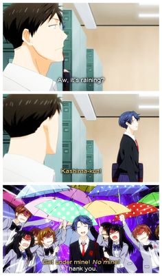 """Gekkan Shōjo Nozaki-kun """"Let's see…if Suzuki forgot his umbrella on a day like this, the girls probably wouldn't leave him alone."""""""