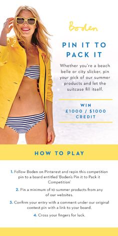 Enter our Pin It to Pack It contest for the chance to win £1000/$1000 credit. For full Ts & Cs, click here > http://www.boden.co.uk/en-GB/help/pack-it.htm