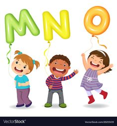 Cartoon kids holding letter mno shaped balloons vector image on VectorStock Childhood Education, Kids Education, Education Domain, Early Education, Preschool Learning, Teaching Kids, Animal Pictures For Kids, S Alphabet, Abc Activities