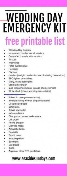 What to pack in your wedding day survival kit from an experienced wedding planner.Every bride needs a day-of emergency kit to cover all eventualities. Suggestions on handy must-haves to pack in wedding emergency kits from a wedding planner who has be Wedding Day Itinerary, Wedding Day Checklist, Wedding Day Tips, Wedding Name, Before Wedding, Wedding Hacks, Dream Wedding, Wedding Advice, Wedding Coordinator Checklist