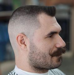 A celebration of moustaches, mustaches, hairy lips, sexy hairy guysMy fascination with the sexy stache! Flat Top Haircut, High Fade Haircut, Military Haircuts Men, Hot Haircuts, Summer Haircuts, Men Hairstyles, Bald Men Style, Beard Haircut, Barbers Cut