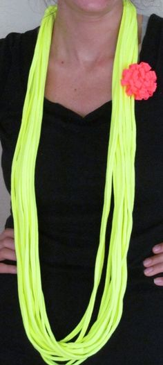 Neon Yellow Infinity T-shirt Scarf with Hot Pink T-shirt Flower Pin