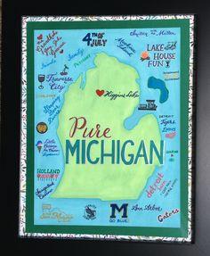 Michigan Print - Michigan Art - Handmade Memories by SeeSkyDesigns on Etsy