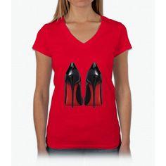 Red Sole Heels - Designer/Fashion/Trendy/Hipster Meme Womens V-Neck T-Shirt