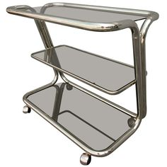 Three-Tiered Brass Bar Cart   From a unique collection of antique and modern bar carts at https://www.1stdibs.com/furniture/tables/bar-carts/