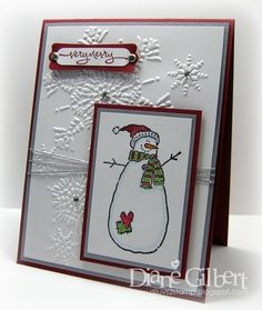 Substitute snowman, too cute! Oct SAS? Chrismas Cards, Stamped Christmas Cards, Beautiful Christmas Cards, Homemade Christmas Cards, Christmas Cards To Make, Xmas Cards, Homemade Cards, Holiday Cards, Christmas Snowman