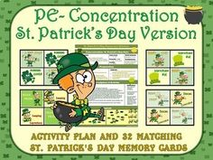PE Concentration: St Patrick's Day Version- Activity Plan with 32 Matching Cards